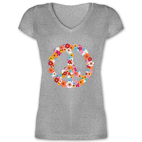 Statement - Peace Flower Power - XXL - Grau meliert - Bluse pink - XO1525 - Damen T-Shirt mit V-Ausschnitt