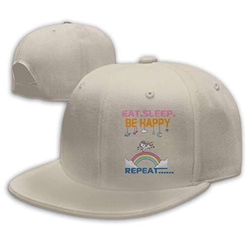 MoMo Gorra de béisbol unisex Fashion Eat Sleep Be Happy Repeat-1 gorra clásica ajustable para hombres y mujeres