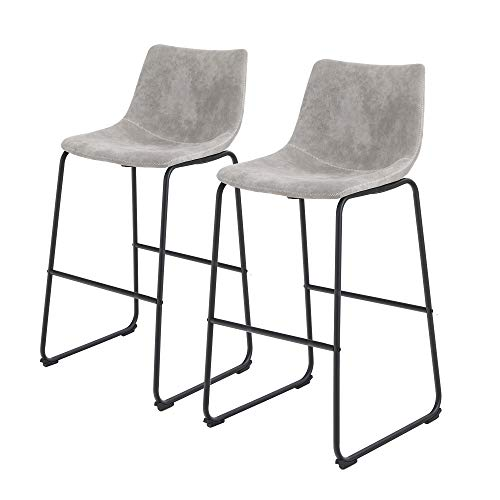 Sophia & William Bar Stool 30' Set of 2 Kitchen Bar Chairs Metal Counter Height with Back Footrest...