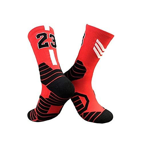 XiaoG Herren Sportsocken, professionelle Super Star Basketballsocken, Elite dicke Sportsocken, rutschfest, langlebig, Skateboard-Handtuch, Socke (Farbe: Nr. 23 Rot D, Größe: Kinder (EU31 36)