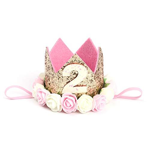 Toyvian 2. Geburtstag Stirnband Blume Krone Stirnband Prinzessin Krone Hut für Geburtstagsfeier Foto Prop Zubehör
