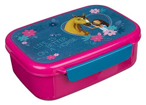 Scooli SIPR9903 - Fiambrera de plástico con dos clips, DreamWorks Spirit, fácil de abrir y cerrar, sin BPA ni ftalatos, aprox. 18 x 13,5 x 6 cm
