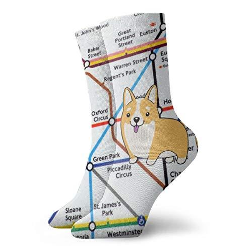 BJAMAJ Unisex Sokken Walking Tube Londen Kaart Interessant Polyester Crew Sokken Volwassene Sokken Katoen
