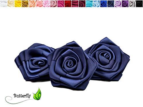 Rosen 6 cm x 3 Stück Satinrosen Aufnäher Deko Blumen Röschen zum Basteln Hochzeit Rosenköpfe Farbe: Dunkel Blau Navy 370