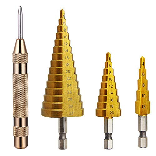 Knoweasy 3Pcs High-Speed Steel Step Drill Bit Set with Automatic Spring Loaded Center Punch,4-12mm/4-20mm/4-32mm Drill Bits Set for Sheet Metal Hole Drilling