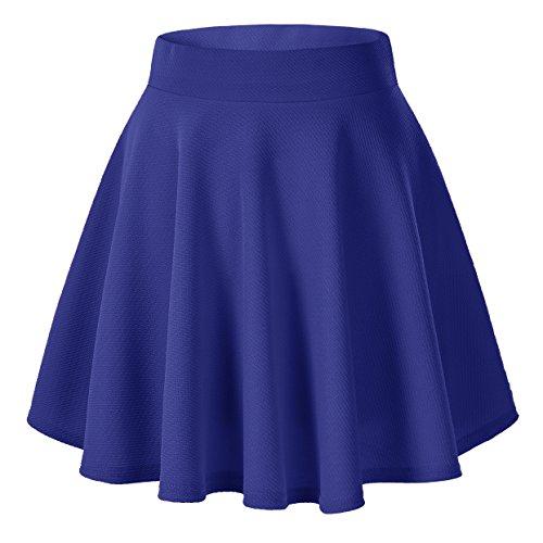 urban GoCo Falda Mujer Elástica Plisada Básica Patinador Multifuncional Corto Falda (XS, Azul Oscuro)