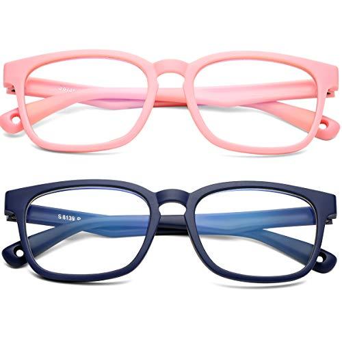 SCVGVER - Gafas de bloqueo de luz azul para niños y niñas, 2 unidades de gafas de ordenador, juego de TV, marco irrompible (todo rosa + azul materia)