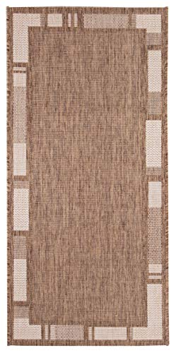 Andiamo 1100368 Web / Bordürenteppich Flachgewebe Teppich Louisville, 60 x 110 cm, braun / beige