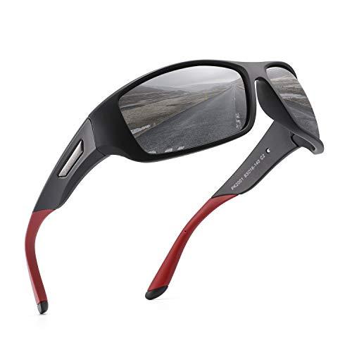 PUKCLAR Sonnenbrille Herren Polarisierte Sportbrille Radsportbrillen Fahrerbrille Damen UV400 Schutz Cat 3 CE