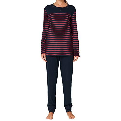 Schiesser Damen Lang 161098 Zweiteiliger Schlafanzug, Blau Rot Gestreift, 52 EU