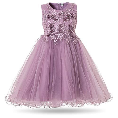CIELARKO Mädchen Kleid Prinzessin àrmellos Blumen Hochzeits Festzug Kleid Blumenmädchen Kleider, Violett, 4-5 Jahre