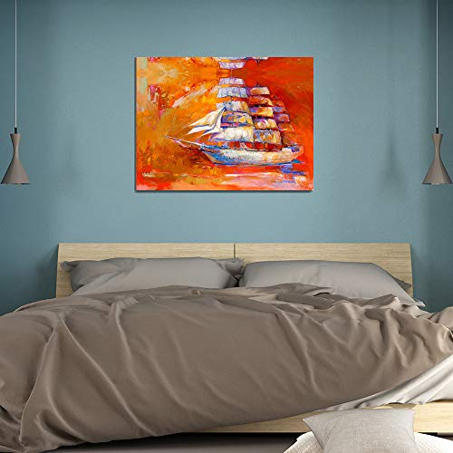 SADHAF Abstracte boot maritieme modescène canvas olieverf kinderkamerdecoratie Woondecoratie muurschildering A4 60x80cm