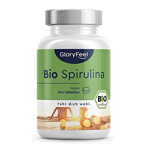 Bio Spirulina Presslinge - 540 Tabletten hochdosiert mit 3000mg - Bio-zertifiziert & Vegan - 100{7c339c854ed2f61f9d96c039a811b7bb7506bc53507fffbef88428d34737edb8} reine Spirulina Algen, Laborgeprüft ohne Zusätze in Deutschland hergestellt