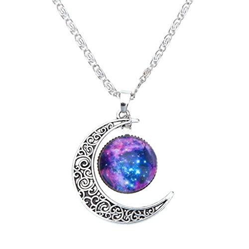 Collar Cadena Ajustable Colgante Luna Creciente Joyería Regalo para Mujer Moda Color Plata # 10