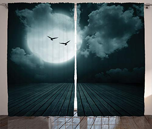 """Ambesonne Gothic Curtains, Danger Night with Cloudy Full Moon and Bats Birds in The Dark Haunted Lands Print, Living Room Bedroom Window Drapes 2 Panel Set, 108"""" X 90"""", Teal"""