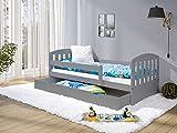 LULU MÖBEL Kinderbett LUKAS 160x80 | Kleinkindbett Juniorbett Bett Komplett - Bett mit Matratze | Lattenrost und Schublade | für Kinder ab 2 jahren | Mädchen Junge | Kinderzimmer Funktionsbett | Grau