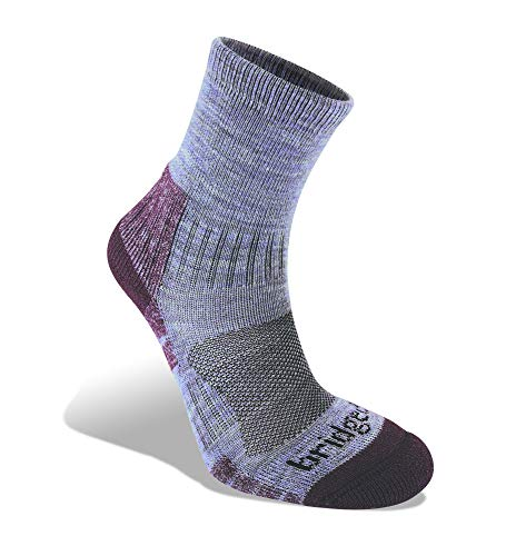 Bridgedale Women's Lightweight Ankle Height - Merino Endurance Socks, Heather/Damson, Large