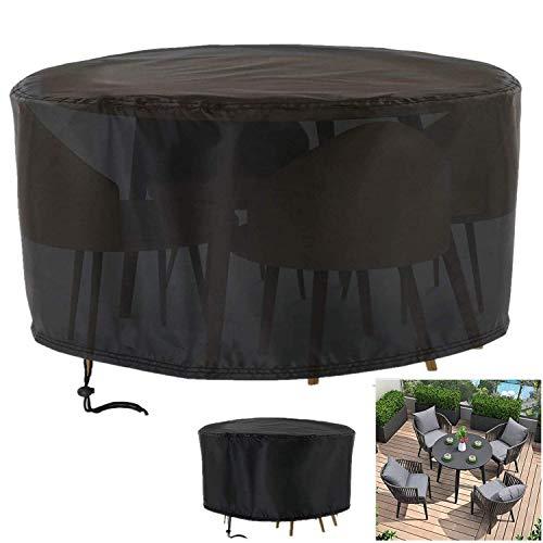 Cubiertas para Mesas Redondas de Jardín,Protectora para Muebles de jardín, Cuerda para Muebles Grandes Exterior Impermeable a Prueba de Viento Paño Oxford
