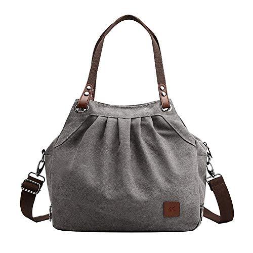 Nowbetter Bolso bandolera para mujer, de lona, informal, retro, para el día a día, bolso de la compra, color azul, gris (Gris) - BRLPSGVHOU
