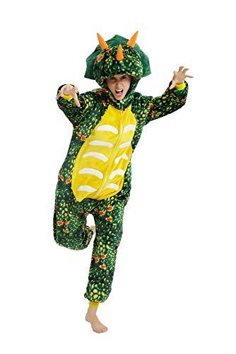 emmarcon Pigiama Animale Kigurumi Tuta Intera Dinosauro triceratopo Costume Carnevale Halloween Cosplay, Unisex Adulto-S/Altezza 149-159cm,Massimo 60kg.-Dinosauro Verde Scuro/S
