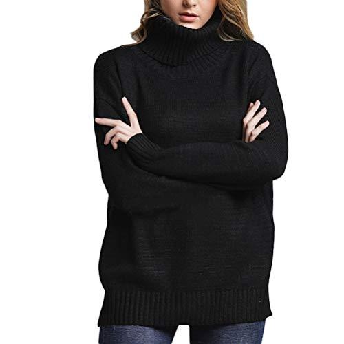 Saoye Fashion Jersey Mujer Moda Otoño Esencial Color E Invierno Liso Suelto Moda Cuello Alto Suéter Suéter De Mujer (Color : Negro, One Size : L)