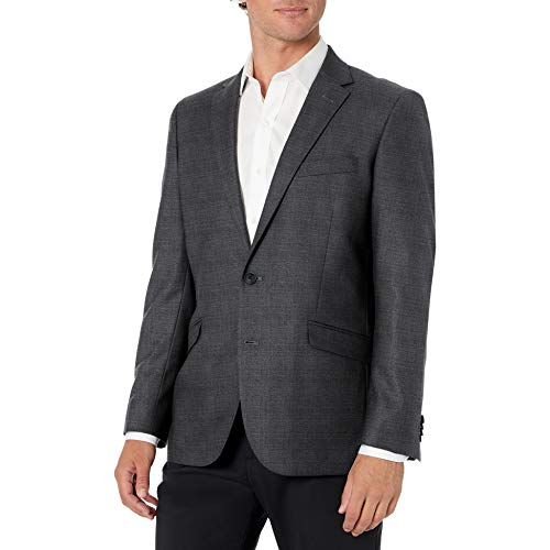 Kenneth Cole REACTION Men's Techni-Cole Stretch Slim Fit Suit Separate Blazer (Blazer, Pant, and Vest), Gunmetal Basketweave, 40 Regular