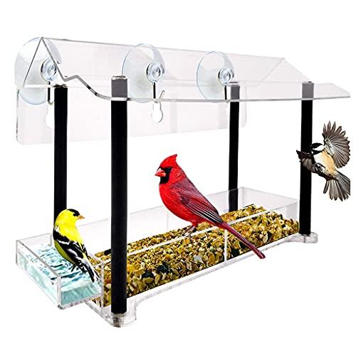 YUYAN Ventana de acrílico comedero para pájaros con ventosa fuerte, transparente transparente transparente para pájaros, ideal para regalo exterior