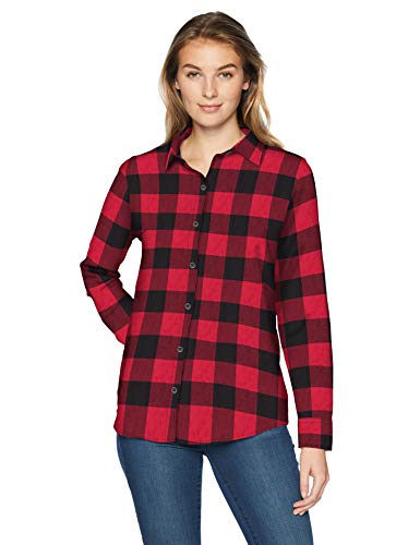 Amazon Essentials Women's Long-Sleeve Classic-Fit Lightweight Plaid Flannel Shirt Shirt, -red buffalo check, Large
