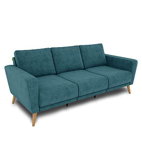 KAUTSCH Lotta Dreisitzer Sofa für Wohnzimmer zerlegbar - Couch 3-sitzer - Polstersofa - B 202 cm - ohne Longchair - Petrol - Holzfüße aus Eiche