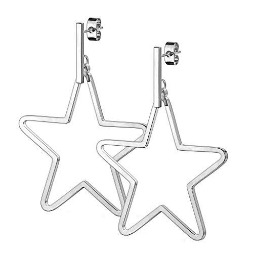 beyoutifulthings - 1 paio di orecchini da donna a forma di barra con stella, in acciaio chirurgico, chiusura a spina, colore: argento e oro e Acciaio inossidabile, colore: argento, cod. SE3790-ST