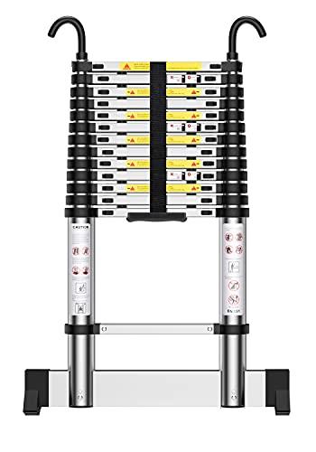 Teenza Escalera TelescóPica 4,9m, Escaleras áTico Plegables de Aluminio, Gancho Estabilizador, Carga MáXima 150kg, CertificacióN de Seguridad EN131