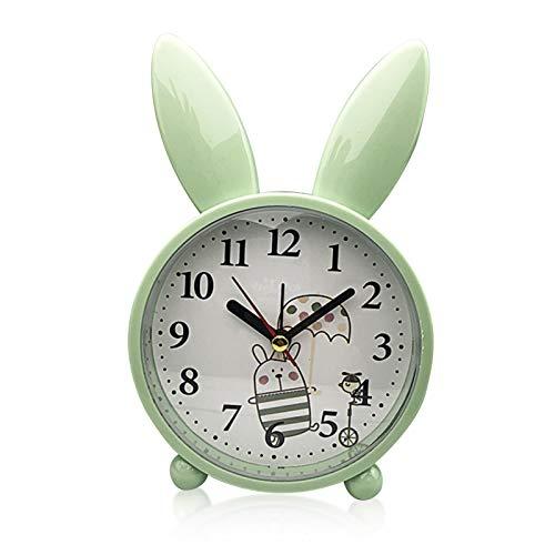 TaimeiMao Wecker Kinder,Wecker,Wecker Hase Kinder,Kinder Wecker,Klassischer Analoger Wecker,Wecker Ohne Ticken,Rabbit Alarm Clock,Wecker Kinder Ohne Ticken,Kinderwecker (Grün)