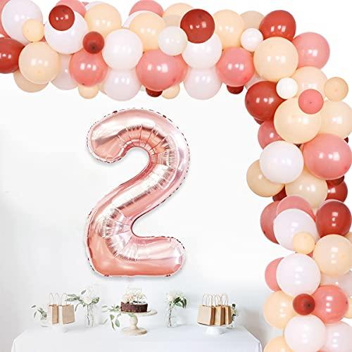 Boho, decoración de segundo cumpleaños, kit de arco iris, decoración de cumpleaños para niña de 2 años, suministros de fiesta de cumpleaños con globo de aluminio