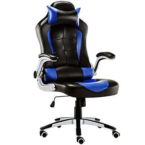 JL Comfurni Gaming Stuhl Bürostuhl Ergonomischer Gaming Computerstuhl höhenverstellbar Schreibtischstuhl 360°drehbar PC Stuhl mit verstellbaren Armlehnen und Kopfstütze aus Kunstleder Blau