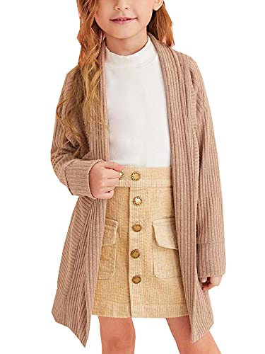 Cutoluca Toddler Baby Girl Knitted Sweater Long Sleeve Cardigan Open Front Coats Fall Winter Kids Solid Long Jacket (Khaki, 4-5T)