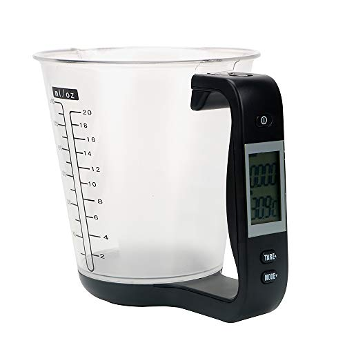 iTimo Elektronischer Messbecher, Küchenwaage, Temperaturmessbecher, mit LCD-Display, Kunststoff