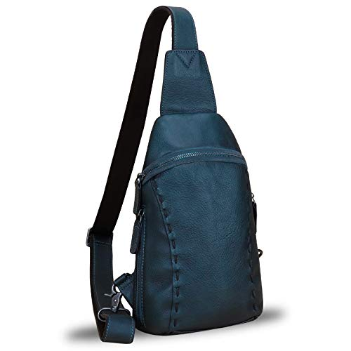 Echtes Leder Sling Bags Wanderrucksäcke Gürteltasche Vintage Handgemachte Crossbody Brust Daypack Schultertasche - Blau - Medium
