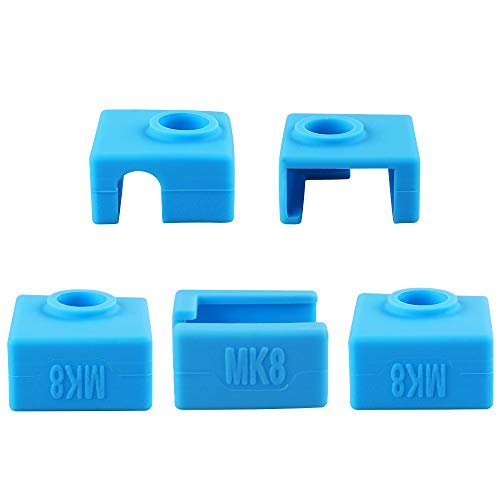 5PCS 3D Printer Heater Block Silicone Cover High-temperature Resistant MK8 Silicone Cover Compatible with CR-10/10S/S4/S5/Ender 3/ANET A8 Blue