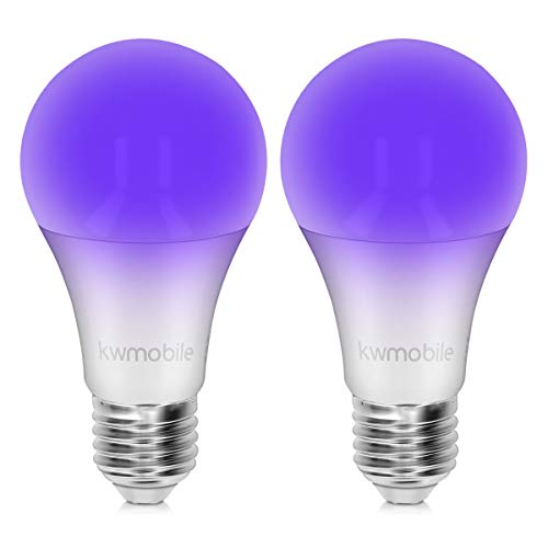 kwmobile Set de 2 Bombillas LED E27 de luz ultravioleta - Bombilla Led ultravioleta con efecto fluorescente - Pack de 2 7W - Casquillo blanco