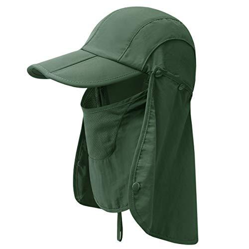 GADIEMKENSD UPF 50+ Folding Fishing Hat 360 Outdoor Sun Hat (Army Green)