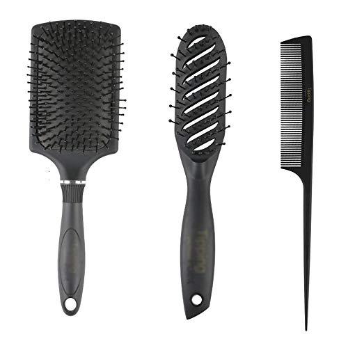 WANGZ Brosse à Cheveux Set, démêlant Brosse Paddle Brosse Ronde Brosse à Cheveux Queue Peigne Humide Pinceau Sec for Les Femmes Hommes Cheveux Styling, Pack 3