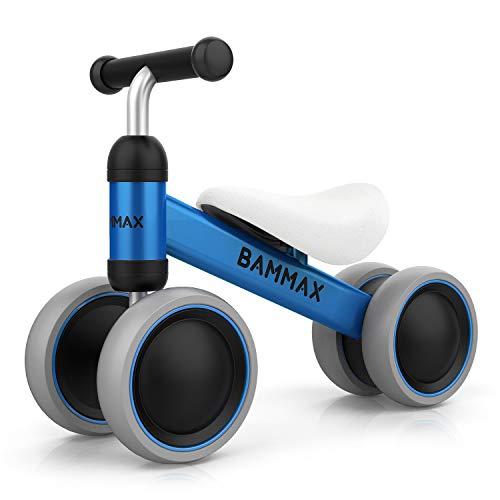 Bammax Bicicletta Senza Pedali, Bici Senza Pedali, Materiale di Metallo Leggero, Triciclo Bambini Giochi, Bicicletta Equilibrio per Bambini 1-2 Anni, Camminatore dei Bambini, Blu