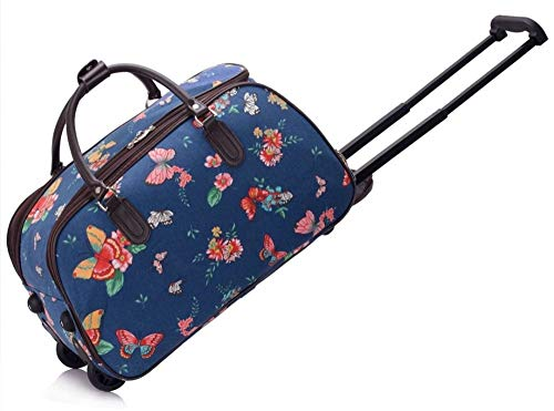 Holdall Travel Trolley Ladies Luggage Bag with Wheels - Lightweight Canvas Baggage Suitcase Cabin Approved (L 48 cm x W 25 cm x H 29 cm, Butterfly - Navy)