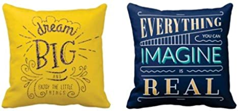 YaYa cafe Motivational Quotes Printed Throw Cotton Cushion Pillow Covers (20x20 inches, Yellow and Blue) - Set of 2