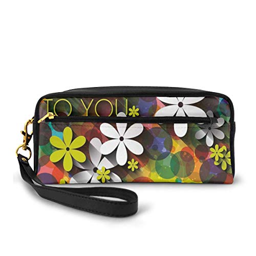 Pencil Case Pen Bag Pouch Stationary,Vibrant Composition of Flowers Daisies Polka Dots Joyful Wish Feminine Design,Small Makeup Bag Coin Purse