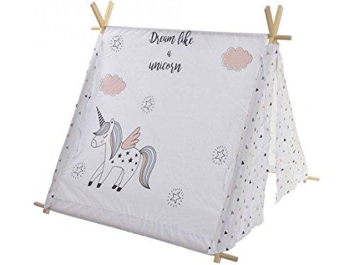 Dream Hogar Tienda de Juego India Tipi Teepee para niños Unicornio Algodon Blanca 110x106cm