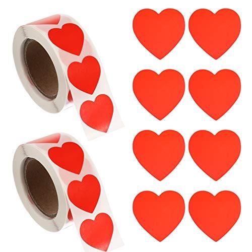 GOTH Perhk 1000 Stück Herz Aufkleber, Selbstklebende Herzform Etiketten für Hochzeit Valentinstag Geburtstag Verpackung und Scrapbooking Dekoration ,hochzeitsaufkleber Umschlagsiegel(Rot)
