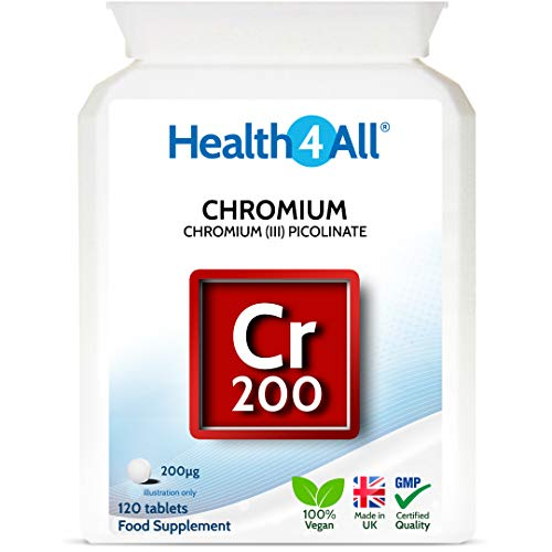 Chromium Picolinate 200mcg 120 Tablets for Normal Blood Glucose (Sugar) Levels. Vegan. Made by Health4All