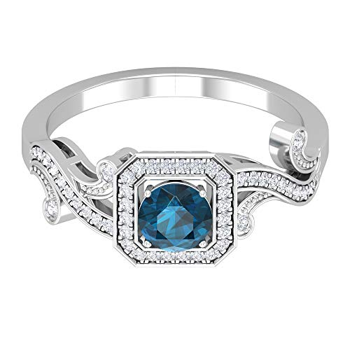 Anillo Art Deco de Oro, Anillo solitario de topacio azul Londres de 5 MM, Anillo de acento de diamantes HI-SI, Anillo solitario con piedras laterales, 14K Oro blanco, topacio azul - london, Size:EU 53