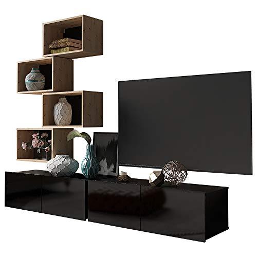 Selsey KIRDON - Wohnzimmer-Set/modulare Wohnwand mit Hochglanzfronten 6-TLG - 2 TV-Boards, 4 Wandregale (Schwarz/Holzoptik Eiche Artisan)